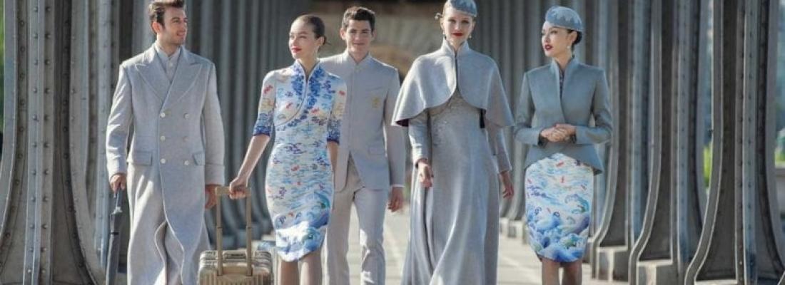 Le divise della Haianan Airlines all'haute couture di Parigi